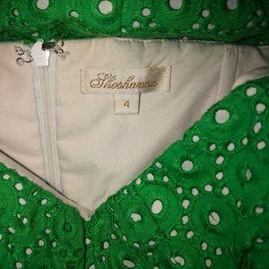 Size 4 Shoshanna Strapless Green Eyelet Dress